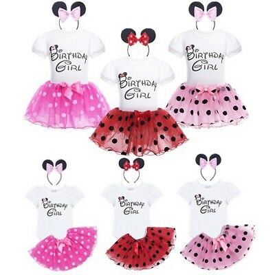 Baby Girls 1st Birthday Tutu Dress Romper Bodysuit Outfits Birthday Gift 3pcs