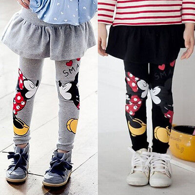 Toddler Girls Mickey Mouse Skirt Pants Baby Kids Stretch Tutu Leggings Trousers