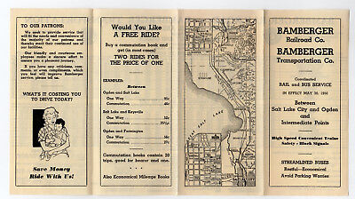 Bamberger Railroad Co. Interurban Public Timetable PTT May 30, 1950 BRR