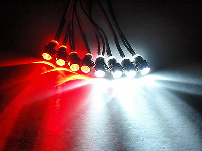 RC LED LIGHT KIT,4 WHITE 4 RED REVO, Slash, Jato, TRAXXAS, T​MAXX, HPI 4W4R 5mm