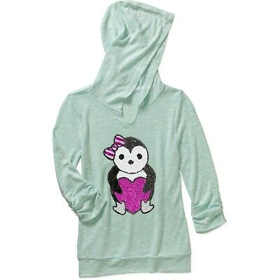 Miss Chievous Girls' Sequin Penguin 3/4 Cinched Sleeve Hacci Top with Hoodie- S