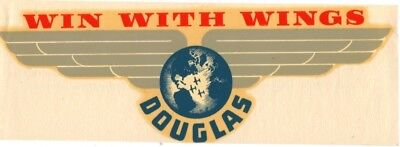 "Douglas Aircraft Co. ""win With Wings"" Airline Baggage Tag Decal  Sticker"