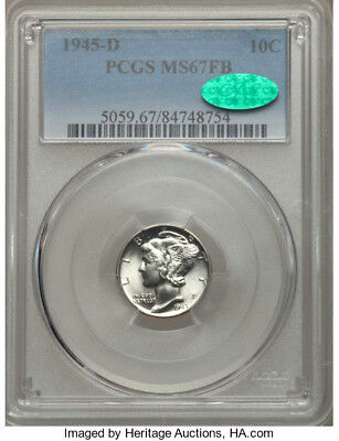 1945-D * PCGS MS67 FB * CAC * Silver MERCURY Liberty Head Dime 10c * $275+++ GEM