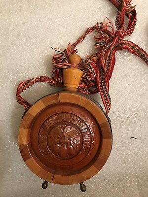 Vintage Wood Carved Canteen With Stopper Cloth Strap Wooden Great Condition Rare