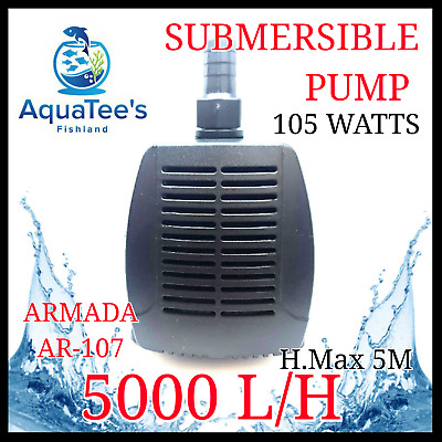 Armada Ar-107 Submersible Pond/aquarium Water Pump 5000L/h Marine Fountain Fish