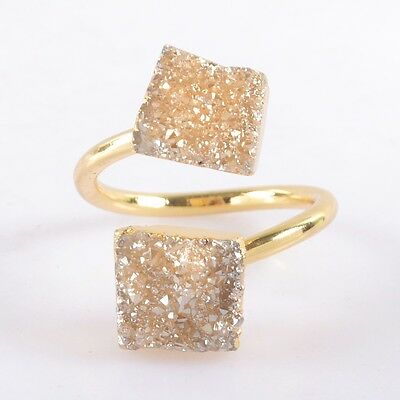 Size 6.75 Natural Agate Titanium Druzy Adjustable Ring Gold Plated B037690