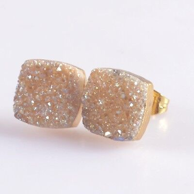 10mm Square Natural Agate Titanium Druzy Stud Earrings Gold Plated T047118