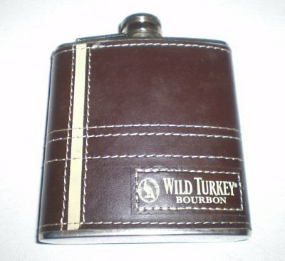 Leather covered steel whisky flask  -  Wild Turkey