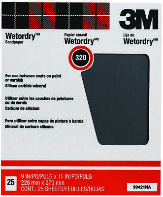 3M Pro-Pak Tri-M-ite Fre-Cut Wet/Dry Sand Paper?, 11 in x 9 in, 320 Grit