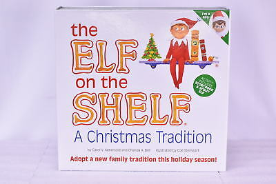 Elf on the Shelf: A Christmas Tradition Blue-eyed boy Scout Elf with Book