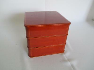 Japanese wooden lacquered multitiered lunch box/ Shunkei lacquer ware/ 6378