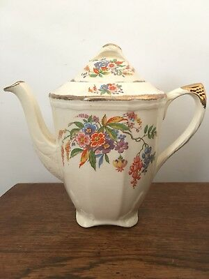 1930s Alfred Meakin Cascadia Coffee Pot with 5 Demitasse Cups