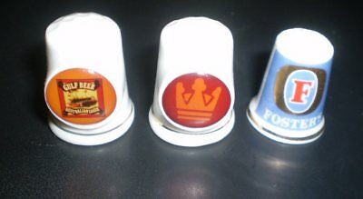 THREE Old crockery advertising thimbles  - Gulf Beer, Crown Lager & Fosters