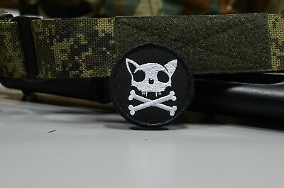 Russian Cat Skull & Cross Bones Patch, Tactical morale military patch