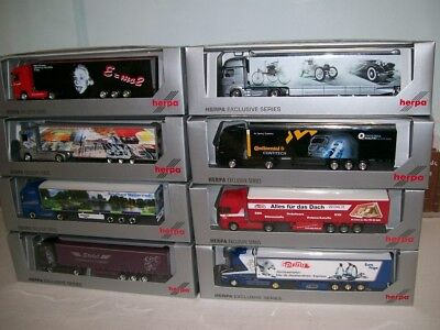 Lot Of 8 Different Herpa Exclusive Series HO Tractor Trailer Trucks - Never Used