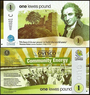 England / Lewes : The Second of 2 Limited Edition 2017 £1 Banknotes. UNC.