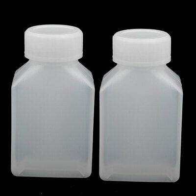 50ml HDPE Plastic Rectangle Shaped Home Laboratory Experiment Bottle White 2pcs
