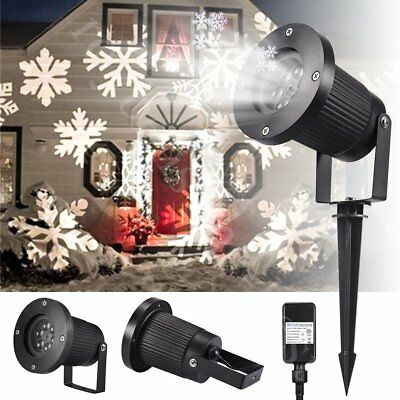 Outdoor LED Moving Snowflake Landscape Laser Projector Lamp Garden Xmas Light