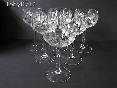 ENGLISH CRYSTAL - SET OF 6 ENGRAVED CHAMPAGNE / COCKTAIL GLASSES C1930 (Ref1550)