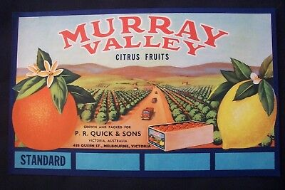 Vintage Original Apple Box Crate Label Murray Valley Victoria Quick & Sons