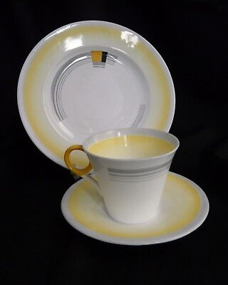 Art Deco Shelley trio- Regent shape, Patches & shades design in Yellow. Stylish.