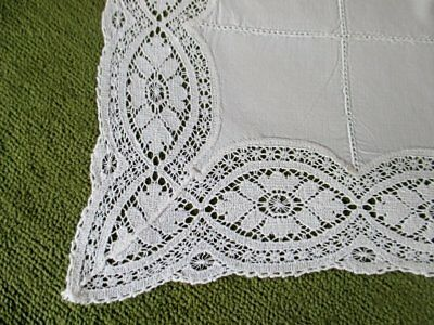 "ANTIQUE TABLECLOTH with LACE EDGE - 38"" Sq."