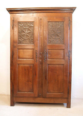 French Antique Vintage Oak Armoire Laiterie Food Cupboard Pierced Panels C1750