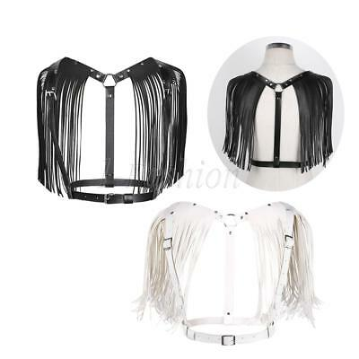 Women's Ladies PU Leather Chest Harness Punk Gothic Belt Cage Bra Tassel Fashion