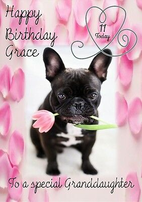 personalised birthday card French bull dog any name/age/relation.