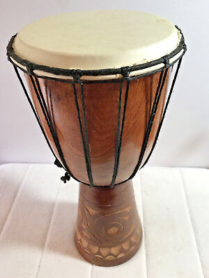 """Small DJEMBE Drum, Hand-carved, 7""""/17cm head-ski dia, 16""""/35cm tall, lovely tone"""