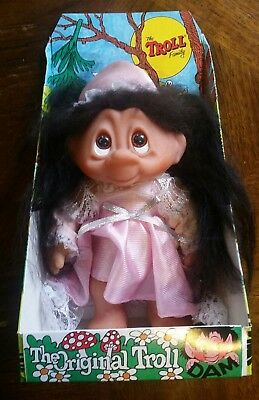 Vintage Original Dam Troll Family 24Cm Lady Doll Figure 60541 Denmark With Box