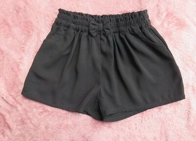 Next Girls Junior Shorts Black Elasticated Age 6 Bow