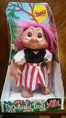 ORIGINAL 24cm DAM RARE TROLL PIRATE  WITH BOX AND BOOKLET/ TAG 60542 DENMARK
