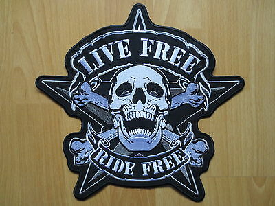 11'' inches Huge large Embroidery Patches LIVE FREE RIDE FREE 28.8CM *27CM BEP17