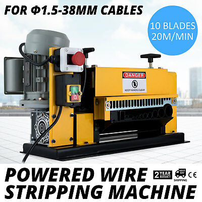 Powered Wire Stripping Machine 1.5-38mm 10 Blades Adjustable Scrap 11 Channels