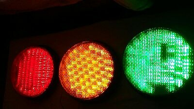 "Set Of Working Ge 12"" Led Traffic Light Signals 120V"