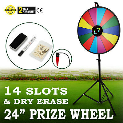 "24"" Tabletop Color Prize Wheel Spinnig Game Floor Stand Food Service 14 Slots"
