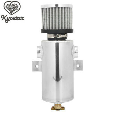 """750ml Silver Baffled Oil Catch Tank Can with 1/2"""" Ports Breather Filter Brushed"""