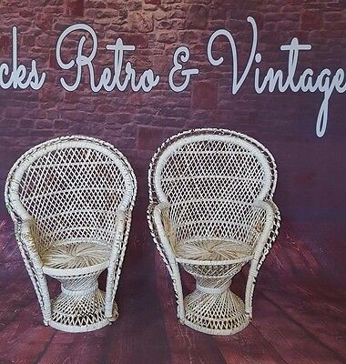 Pair Vintage Retro Peacock Emmanuelle Wicker Cane Chairs Dolls Teddy Planter