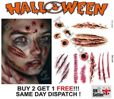 Halloween 3D Temporary Tattoos Costume Party Zombie Horror Scar Wound Bite Blood