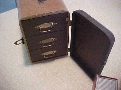 Antique Luggage Carry Case For Slides -Many Slides Included (Some For Scouts)