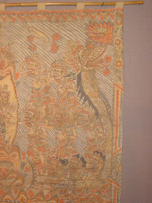 Wonderful Antique Indonesian Painting On Linen Depicting Creation ***hg***