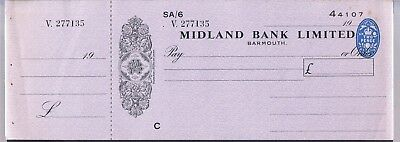 Unused Midland Bank Cheque With Counterfoil - Barmouth Branch C1930's