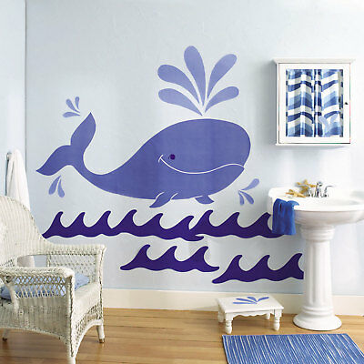 Wallies Whimsical Whale Mural Wall Stickers New