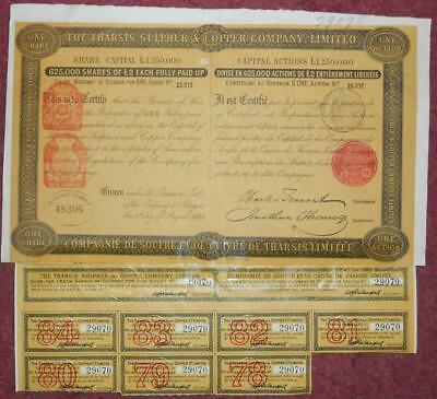 30794 SPAIN 1883 Tharsis Sulphur & Copper share Warrant with coupons