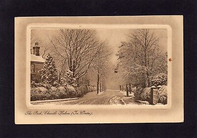 Old postcard The Park Cheadle Hulme Cheshire in Winter.