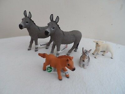 SCHLEICH x2 DONKEYS RABBIT SMALL HORSE AND A LAMB NEW WITH TAGS