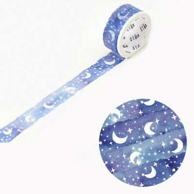 1 Roll Blue Moon Star Washi Tapes Stationery Stickers Scrapbooking Scotch Tapes