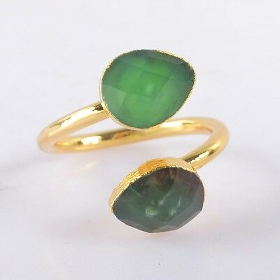 Size 6.5 Australia Natural Chrysoprase Faceted Ring Gold Plated B037694
