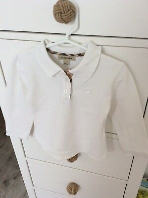 Polo blanc manches longues bebe fille BURBERRY 24 mois / 2 Ans